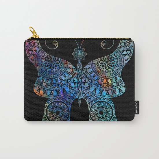Drawn Butterfly on Black Carry-All Pouch