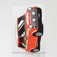 mini cooper Stationery Cards featuring Mini Cooper Car - Red by C Barrett