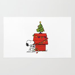 Snoopy Christmas Tree In Home Rug