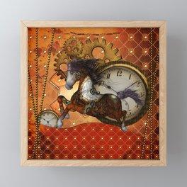 Steampunk, wonderful wild, red  steampunk horse Framed Mini Art Print