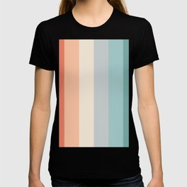 striped color pattern - red , orange, grey, green, T-shirt