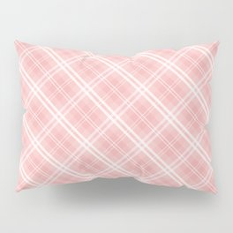 Blush Pink Valentine Sweetheart Tartan Plaid Check Pillow Sham