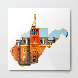 West Virginia State Map WVU Campus Gifts Metal Print