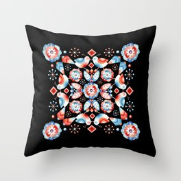 Folkloric Ombre Lovebirds Throw Pillow