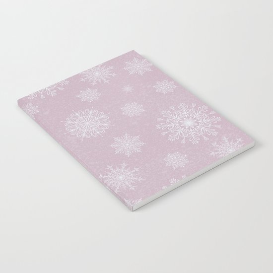 Assorted Snowflakes On Pink Background Notebook