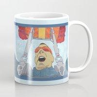 ski Mugs featuring Ski dive by Aquamarine Studio
