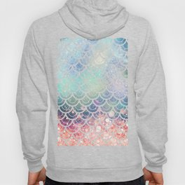 Mermaid Scales Coral and Turquoise Hoody