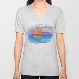 Sunset Dreaming - Watercolor Design Unisex V-Neck