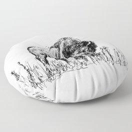 Buffalo Sketch Floor Pillow