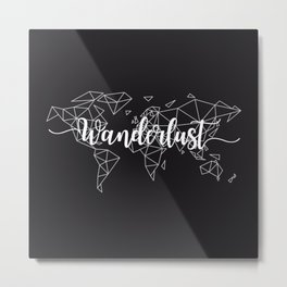 Wanderlust geometric world map Metal Print