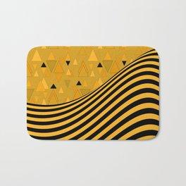 Yellow , black , striped Bath Mat