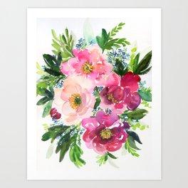 5 pink peonies in watercolor Art Print