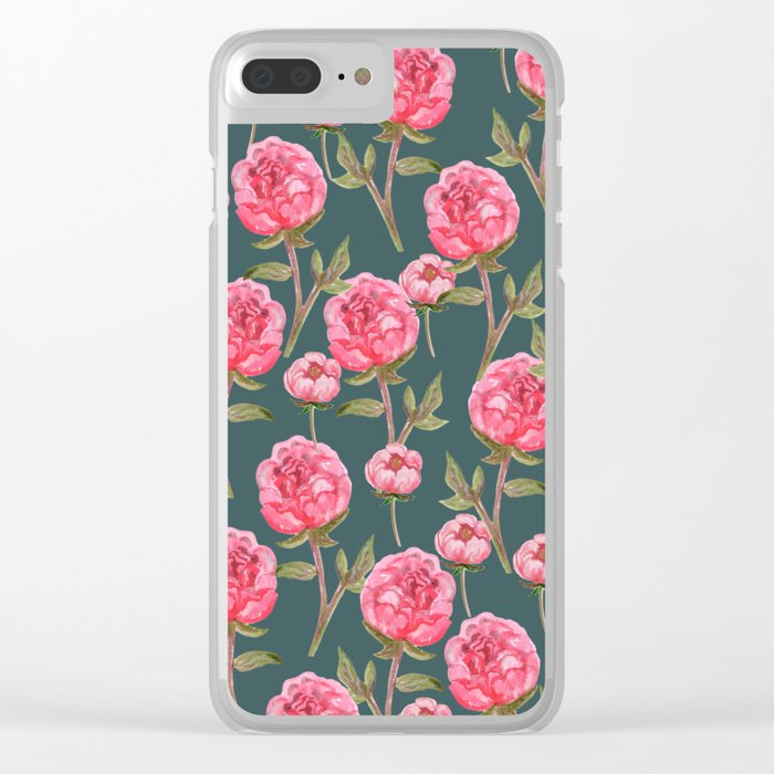 Pink Peonies On Green Background Clear iPhone Case