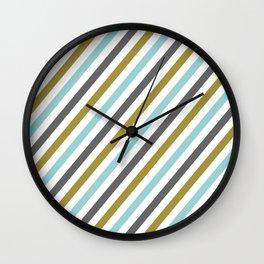 Mint color Diagonal stripe Wall Clock