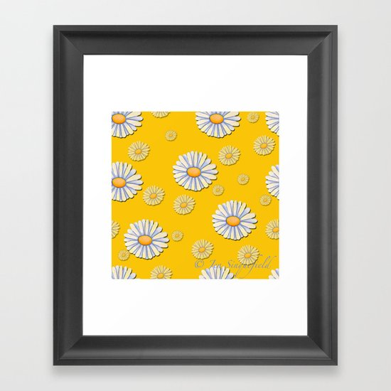 Tossed White Daisies Yellow Background by jensinquefield