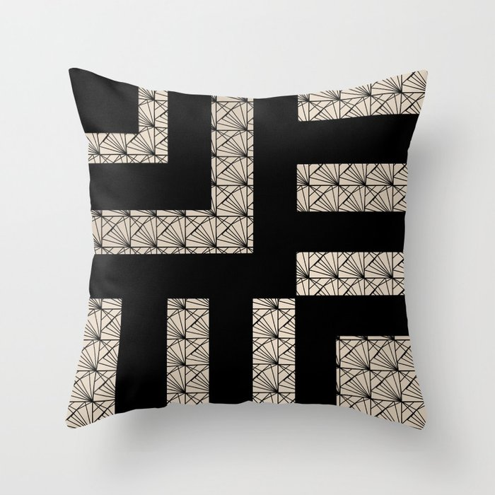 Art Deco Throw Pillows.Black And Tan Art Deco Throw Pillow
