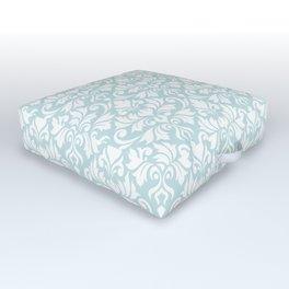 Flourish Damask Big Ptn White on Duck Egg Blue Outdoor Floor Cushion