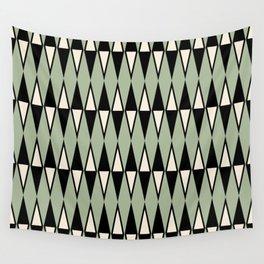 Mid Century Modern Diamond Pattern Sage Green 234 Wall Tapestry