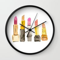lipstick Wall Clocks featuring Lipstick by Sweet Colors Gallery