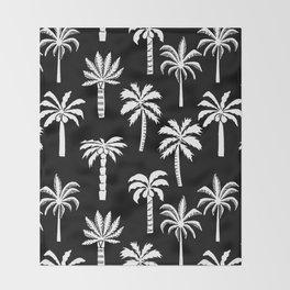 Palm Trees linocut black and white tropical summer art minimalist decor Throw Blanket