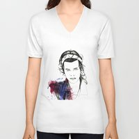 harry styles V-neck T-shirts featuring Harry Styles by Mariam Tronchoni