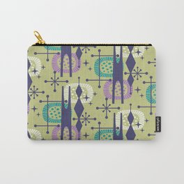 Retro Atomic Mid Century Pattern Blue Green Purple and Turquoise Carry-All Pouch