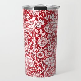 """William Morris Floral Pattern   """"Pink and Rose"""" in Red and White Travel Mug"""