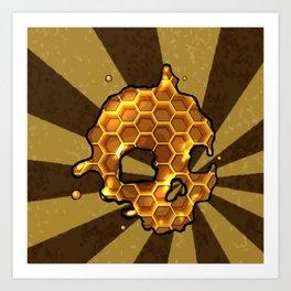 Honey comb splat skull Art Print