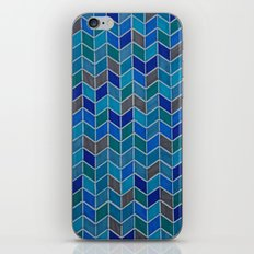 Blue and grey hue chevron iPhone & iPod Skin