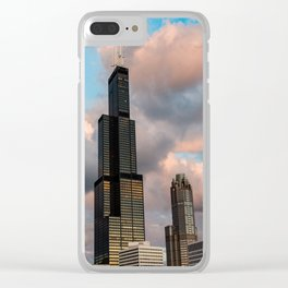 Cotton Candy Skies in the Chicago Skyline Clear iPhone Case
