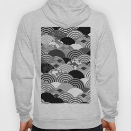 Nature background with japanese sakura flower, Cherry, wave circle Black gray white colors Hoody