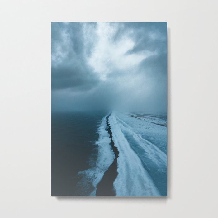Moody Black Sand Beach in Iceland - Landscape Photography Metal Print