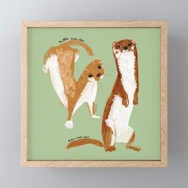 Funny Weasel ( Mustela nivalis ) Framed Mini Art Print