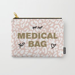 Medical Bag (Gold on Pink Leopard) Carry-All Pouch