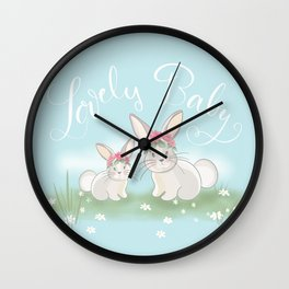 Little Baby Bunnies - Lovely Baby Wall Clock