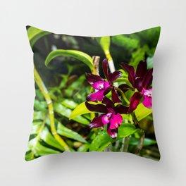 dark purple orchids Throw Pillow