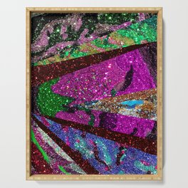 Peacock Mermaid Lavender Abstract Geometric Serving Tray