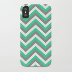 Mint Green, White, and Grey Chevron Slim Case iPhone X