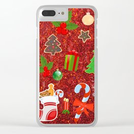 Cute Christmas Mix, red Clear iPhone Case