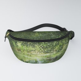Romantic & Dreamy Pond with Trees Grass Flowers Water Secret Pond Spring Summer Landscape Photography Green Yellow Pattern Digital Photo Canada Outdoors Nature Art Fanny Pack