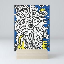 Yellow Blue Graffiti Art Doodle Black and White  Mini Art Print