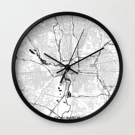 Columbus Map Gray Wall Clock