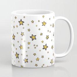 Starry Sky Seamless Vector Pattern, Hand Drawn Illustration Yellow Coffee Mug
