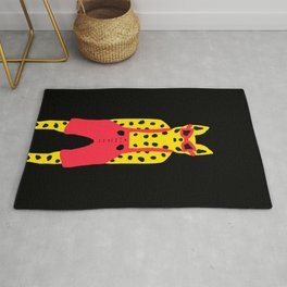 Cool for Cats Leopard in Red Dungarees Rug