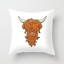 The Ginger Beard Man Highland Cow Cattle Red Head Throw Pillow