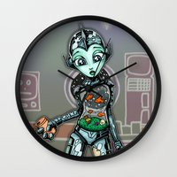 tank girl Wall Clocks featuring Fish Tank Robot Girl by Ronkytonk by RonkyTonk