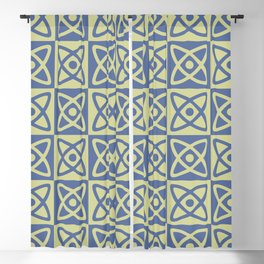 Mid Century Modern Atomic Check 141 Blue and Green Blackout Curtain