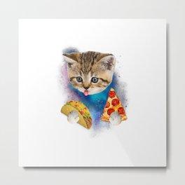 Funny Galaxy Cat Shirt  Space Cat Eat Pizza and Taco Shirt Metal Print