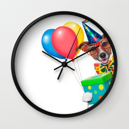 Birthday Dog With Balloons Tie and Glasses Wall Clock