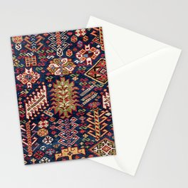 Ornamental Midnight Blue Shekarlu 19th Century Authentic Colorful Zig-Zag Vintage Patterns Stationery Cards